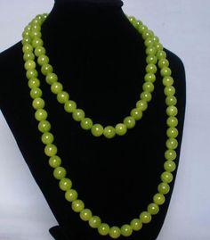 54inch Tibet Bean Green Jade Stone Beads Buddha Buddhist Prayer Mala Necklace ew