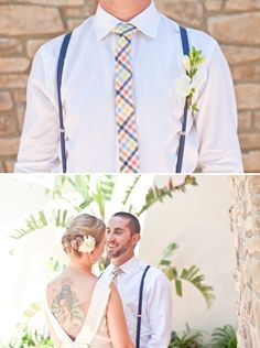 Suspenders on a Groom look so dashing!