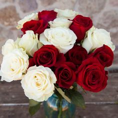 Red and white roses...maybe add a navy blue ribbon.  this is exactly what i want to have!!!!!!!!!!!!!!!!!!!!!!!