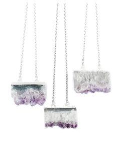 Amethyst Healing Quartz Slice Necklace -Crystal- Vintage Silver Dipped Jewelry -Agate Druzy Jewellery - Semi Precious Stone- Boho Bohemian