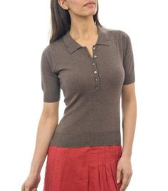 Womens Silk & Cotton Polo Shirt Brown Marl Small Wool Overs. $30.00