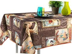 Rectangular Tablecloth Brown Vintage Provence Cabaret, Stain Resistant,  Washable, Liquid Spills Bead Up