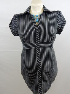 Black & White Striped Short Sleeve Tie Blouse-912