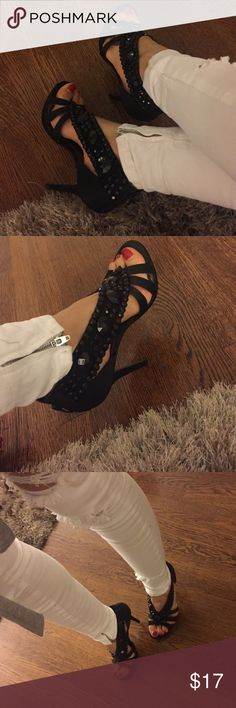 Bakes shoes with stones Beautiful black stones on black satin shoes Bakers Shoes Heels
