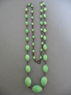 Vintage Art Deco Peking Glass Bead Long Necklace   eBay