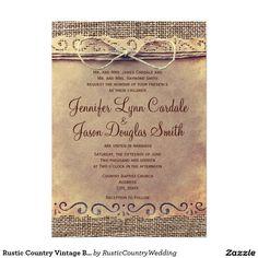 "Rustic Country Vintage Burlap Wedding Invitations**EXPLORE an Amazing Collection of  ""Theme Matching Wedding Invitation Sets"" by Visiting... http://www.zazzle.com/weddinginvitationkit"