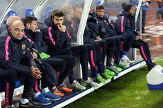 13. 11. 2014 - FC Barcelona against Real Sociedad - bench buddies Ivan Rakitić, Marc-Andre ter Stegen and Rafinha Alcantara during the match.