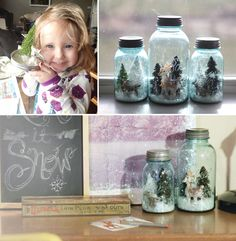 Home Sweet Apt: DIY Snow Globes Using Blue Mason Jars