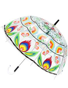 Folk Collection Art Umbrella, Multicolored Floral Pattern on Clear Transparent Bubble Canopy