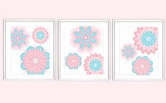 Flower Wall Art Pink Blue Nursery Art Girls Room Art Floral Prints Home Decor Pottery Barn Brooklyn Flowers Prints 3 Print Set