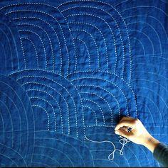 sashiko sweet home Colchas Quilting, Quilt Stitching, Free Motion Quilting, Machine Quilting, Quilting Projects, Quilting Designs, Sewing Projects, Hand Stitching, Boro