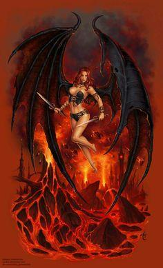 fantasy and science fiction Fantasy Girl, Fantasy Warrior, Dark Fantasy Art, Fantasy Women, Fantasy Artwork, Dark Art, Warrior Angel, Ange Demon, Demon Art