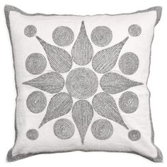 Modern Throw Pillows | Starburst Beaded Linen Pillow | Jonathan Adler