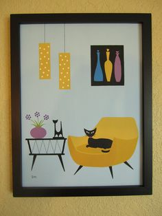 Mid Century Modern Painting, 9 X 12 Original Acrylic Mid Century Art, Mid Century Modern Design, Mid Century Style, Art Journal Pages, Tutorial Paint, Photo Chat, Using Acrylic Paint, Vintage Cat, Retro Art