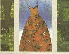 """Kirsi Neuvonen (born 1960 Finland)  """"Wild Strawberry Dress"""". 2001. 3 plate intaglio 35 1/2 x 23 3/4"""""""