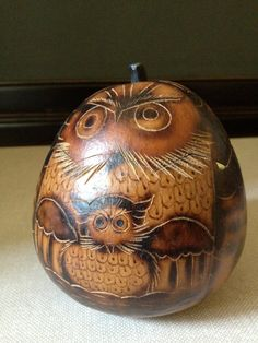 Fall Owl Gourd Decoration by JansVintageStuff on Etsy, $26.00