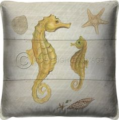 Large overstuffed, down-filled 21 x 21 coastal pillow featuring art by Kolene Spicher. Fun under-the-sea scene with yellow seahorses on this beach house luxury cushion!