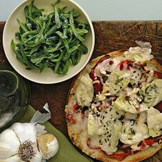 Artichoke Pizzas with Lemony Green Bean Salad | MyRecipes