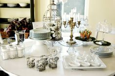 Set up a buffet ...tips and tricks, using thrift store decor and using what you have in different ways