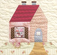 little cottage quilt block pic Applique Patterns, Applique Quilts, Quilt Patterns, Quilting Tutorials, Quilting Projects, Quilting Designs, House Quilt Block, Quilt Blocks, Quilt Baby