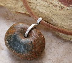 Huge Granite Bead on Leather Cord with Sterling and Iron Shaman's Bead