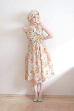 Vintage Chiffon Dress || Orange Blossoms || 1950s