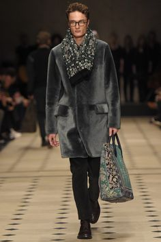 Sign me up, embellished scarf and printed tote...Burberry Men's RTW Fall 2015 -