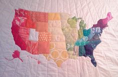 Rainbow map quilt from Crazy Old Ladies Quilts.  Very representative of America itself...scrappy & beautiful!