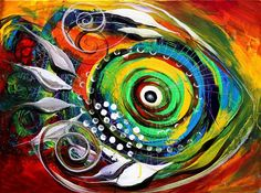Sample Fish Painting - J Vincent Scarpace Abstract Shapes, Abstract Wall Art, Fish Illustration, Fish Art, Sea Creatures, Fine Art America, Modern Art, Original Art, Canvas Art