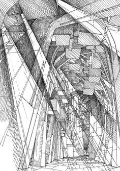 Imaginary jerusalem / drawings by stefan davidovici, architect - milan, ita Architecture Concept Drawings, Architecture Design, Pavilion Architecture, Video Vintage, Model Sketch, Hand Sketch, Urban Sketching, Sketch Design, Drawing Sketches