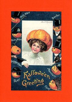 """Reproduced vintage postcards dating back to 1910, displaying quaint phrases or illustrations appropriate for a handful of special events: Card reads """"""""Hallowe'en Greeting"""" - Custom textured paper - Em"""