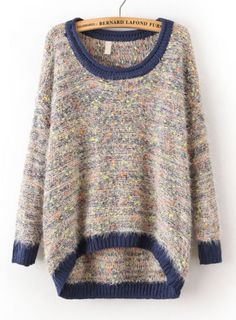 Blue Long Sleeve Shaggy Asymmetrical Knit Sweater pictures