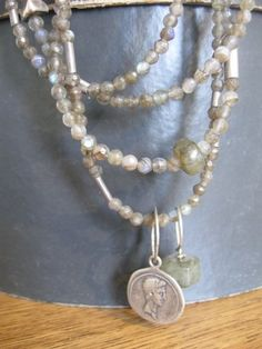 Long gemstones necklace labradorite with silver Roman coin and silver beads
