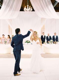 Draped barn wedding venue inspiration chandeliers first dance | Justine Milton fine art film Calgary Wedding Photographers | Toronto Wedding Photography | Barn Wedding | Elegant Rustic Wedding