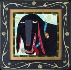 Could be a sheep? Chris Roberts, Fabric Pictures, Animal Quilts, Doll Quilt, Small Quilts, Dog Portraits, Dog Art, Textile Art, Graphic Illustration