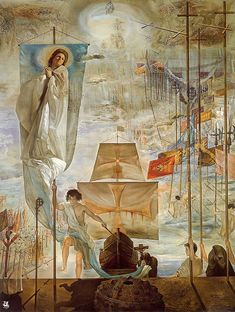 The Discovery of America by Christopher Columbus, 1958-9, oil on canvas, 410cm by 310 cm-Salvador Dali Collection, Dali Museum, Saint Petersburg, FL