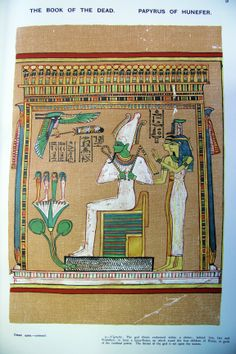 The god Osiris sitting on the throne with Isis and Nepthys behind him. On the lotus flower (symbol of re-birth) in front of him stands the four children of Horus. The throne is set upon water.