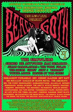 Beach Goth 4 (Oct 24 & 25 2-Day Pass) with The Growlers (playing both days), Grimes, Die Antwoord, Mac Demarco, Julian Casablancas +The Voidz, FIDLAR, Ghost, The Drums, Juicy J, Warpaint, Hosted By Tom Green, Parliament Funkadelic | Observatory