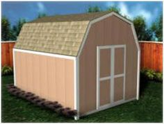 Gambrel Roof Shed Plans in thirteen sizes, from 8'x8' to 16'x24', from StorageShed-Plans.com