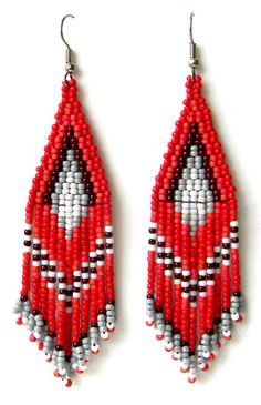 Red Beaded Earrings Seed Bead Ethnic Fringe Boho Dangle For Women Hippie Jewellery
