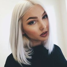 """14"""" Heat resistant front wig Synthetic hair Bob Straight Lightest gray 