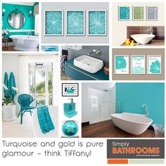 Bathroom Colours: Terrific Turquoise Turquoise is a classic bathroom colour; it feels fresh and clean, brings to mind the sea and Mediterranean spas, and looks … Simply Bathrooms, Dream Bathrooms, Turquoise Bathroom, Bathroom Colors, Glamorous Bathroom, Classic Bathroom, Fresh And Clean, Home Improvement, Colours