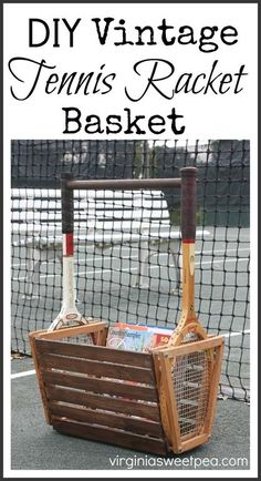 Learn how to use vintage wooden tennis rackets from the thrift store to make a tennis racket basket. This is great for holding magazines, dog toys, & more! Funky Home Decor, Upcycled Home Decor, Diy Home Decor, Repurposed Items, Room Decor, Annie Sloan, Dresser, Vintage Tennis, Recycled Furniture