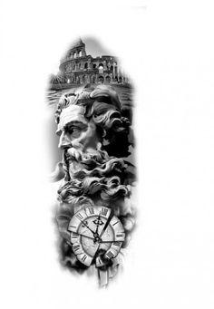tattoo zeus mythology & tattoo zeus _ tattoo zeus mythology _ tattoo zeus preto e cinza _ tattoo zeus poseidon _ tattoo zeus greek gods _ tattoo zeus design _ tattoo zeus realismo _ tattoo zeus antebraço Hand Tattoos, Forarm Tattoos, Arm Sleeve Tattoos, Tattoo Sleeve Designs, Tattoo Designs Men, Tattos, Zeus Tattoo, Statue Tattoo, Tattoo Cat