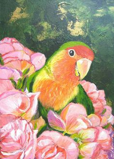Lovebird in the flowers original acrylic painting parrot
