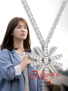 This is the beautiful, intricate pendant thatCaptain Yoo Si-jin gives to Kang Mo Yeon. DOTS fans, this is a treasure not to be missed! The 18K white gold-plate