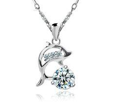 [$0.87] Dolphin pendant clavicle chain  (Colour: Single white diamond pendant chain  free)