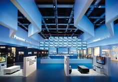 3d your world  | panasonic by D'art Design Gruppe , via Behance  I like the even, pastel tones of lighting that are used in this stand. An array of a manufacturer's screen products never fails to impress me.