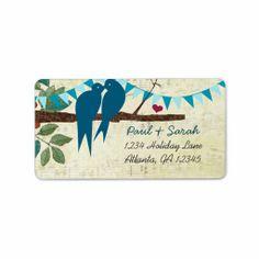 Aqua Bunting Vintage Love Birds Damask Hills Custom Address Labels