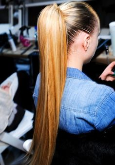 no matter how long my hair is my ponys never look this sleek. someone show me the secret. I'm convinced its a mini bump it and extensions.
